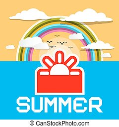 Summer Retro Card. Vector Summer Ocean Illustration with Paper Cut Sun and Rainbow with Clouds on Sky.