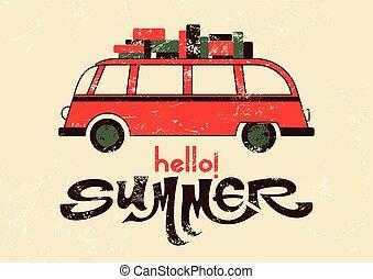Summer retro grunge poster. - Hello summer! Typographic...