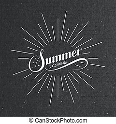 Summer retro label with light rays
