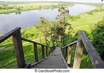 summer river Nemunas in Lithuania near Rambynas hill