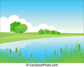 Summer riverside landscape. Vector illustration.
