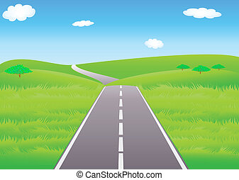 Summer road and meadows - Vector summer landscape with ...