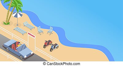 Summer road trip isometric vector illustration. Cabriolet driver, man driving passenger car cartoon character. Seasonal recreation, summertime rest, seaside vacation banner concept with text space