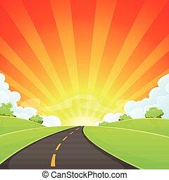 Summer Road With Shining Sun