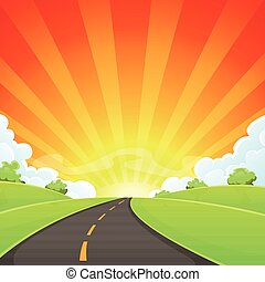 Summer Road With Shining Sun - Illustration of a cartoon...