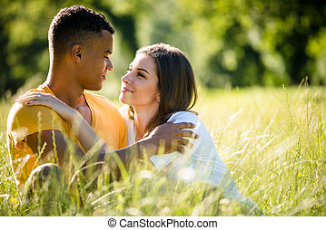 Summer romance - couple together in nature