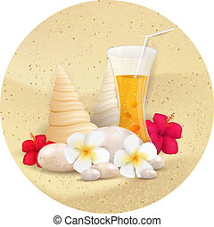 Summer round banner with juice