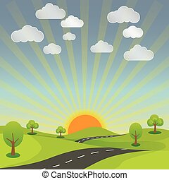 summer rural landscape road, sun and sky with nature bright