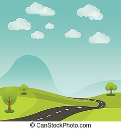 summer rural landscape road with nature background vector