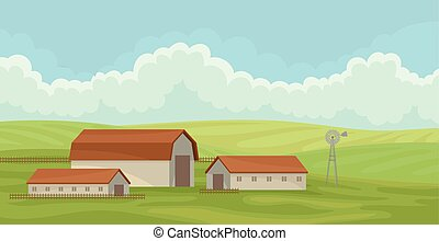Summer rural landscape with barn, field with green grass, agriculture and farming vector Illustration on a white background