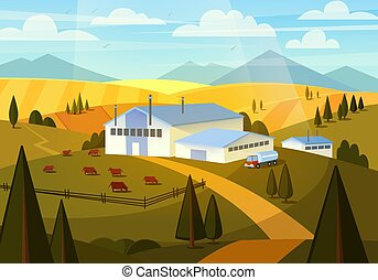 Summer Rural Landscape with Cows, Hills and Farm. Dairy Factory, Milk Production. Vector illustration
