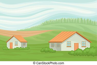 Summer rural landscape with farmhouses, field with green grass, agriculture and farming vector Illustration on a white background