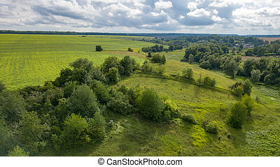 Summer rural landscape with green fields, meadows, forests against cloudy background. Aerial view from drone.