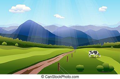 Summer rural landscape with hills