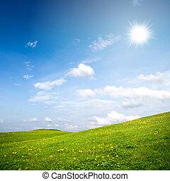 Summer rural landscape with sunny blue sky