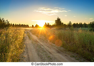 summer rural landscape with sunrise , fog and the road