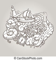 Summer sailing abstraction colorless vector