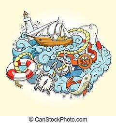 Summer sailing abstraction vector illustration