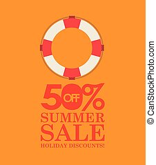 summer sale 50 discounts with life buoy