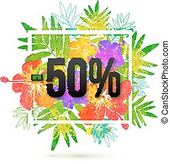 summer sale 50 percent discount vector template on floral...