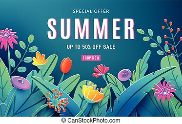 Summer sale ad background with paper cut fantasy flowers, leaves, stem isolated on dark backdrop. Minimal 3d style floral background. Discount text offer 50 percent off. Vector illustration