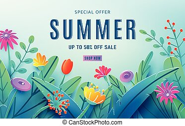 Summer sale ad background with paper cut fantasy flowers, leaves, stem isolated on light blue backdrop. Minimal 3d style floral background. Discount text offer 50 percent off. Vector illustration