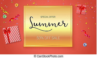 Summer sale ad, selling banner on gold background. Gift box with red ribbon and bow, burning, lighted candle, with serpentine and confetti on hot orange background