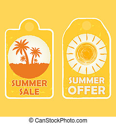 summer sale and offer with palms and sun signs, yellow drawn labels