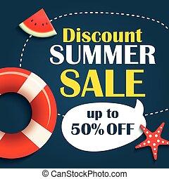 Summer sale background banner template. Voucher discount promotion.