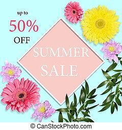 Summer sale background - floral design of banner, flyer or poster