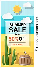 Summer sale background with cactus in desert 2