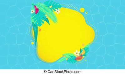 Summer sale banner animation. Promo banner special offer abstract geometric background with palm leaves, tropical fruits, sea or pool water surface texture background Footage.