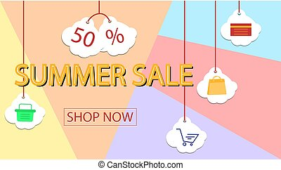Summer sale banner design for promotion with shopping icons.