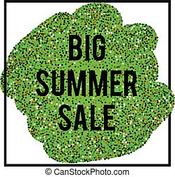 Summer Sale banner in frame on green glittering background