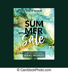 Summer Sale banner template with greenish alcohol ink background, hand drawn vector illustration