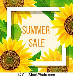 Summer sale banner template with sunflower, vector illustration
