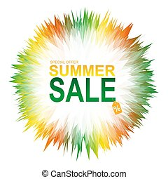 Summer sale banner with abstract geometric colorful splashes.