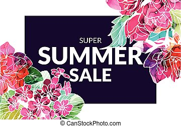 Summer Sale banner with alcohol ink flowers, hand drawn vector illustration