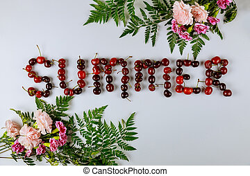 Summer sale banner with cherries and flowers.