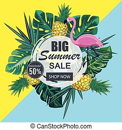 Summer sale banner with paper cut flamingo and tropical leaves background, exotic floral