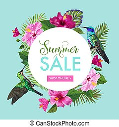 Summer Sale Banner with Tropical Flowers and Humming Birds....
