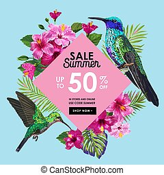 Summer Sale Banner with Tropical Flowers, Palm Leaves and...