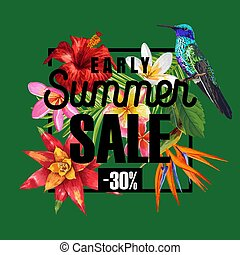 Summer Sale Banner with Tropical Hibiscus Flowers and...
