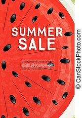 Summer Sale Banner with Watermelon Background.