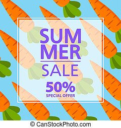 Summer sale banner.Offers a 50 discount.Vegetable carrot organic food.