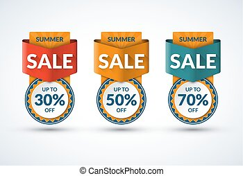 Summer sale banners set. Special offer, discount templates. Up to 30, 50, 70 percent off. Vector illustration