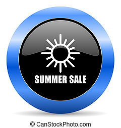 Summer sale black and blue web design round internet icon with shadow on white background.