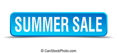 Summer sale blue 3d realistic square isolated button