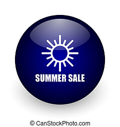 Summer sale blue glossy ball web icon on white background. Round 3d render button.