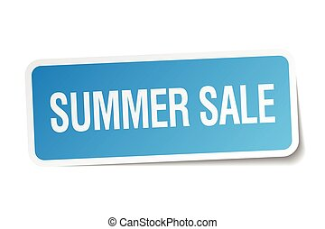 summer sale blue square sticker isolated on white